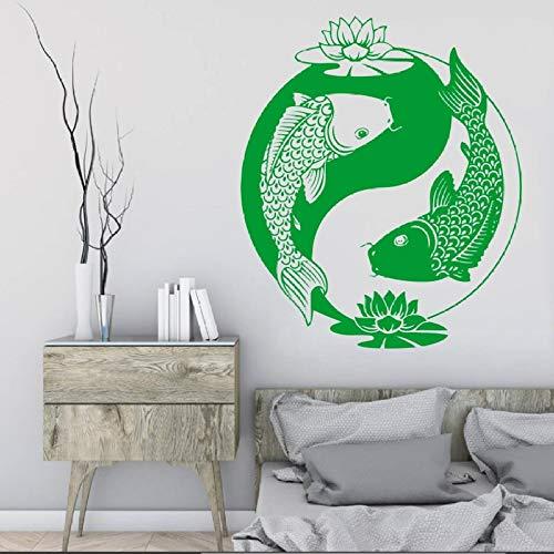 Geiqianjiumai Wandaufkleber Vinyl Aufkleber Chinesischen Stil Fisch Taiji Oriental Zen Lotus Goldfisch Schlafzimmer Philosophie Wohnzimmer Dekoration Grün 42X50 cm