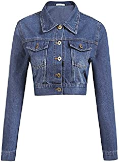 Grabsa Women's Button Down Long Sleeve Cropped Denim Jean Jacket with Pockets