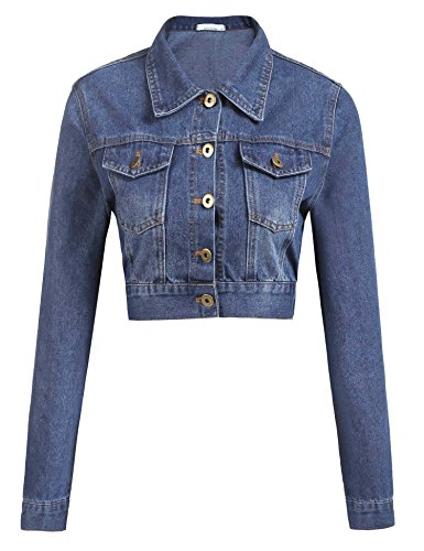 Womens Button Down Long Sleeve Cropped Clear Blue Denim Jean Jacket