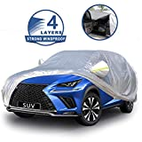 MARZAHAR 4 Layers SUV Car Cover Waterproof All Weather Car Covers for Automobiles, Rain UV Wind Proof Protection Outdoor Universal Full Exterior Car Cover for SUV with Zipper Door(Fit SUV 185-193')