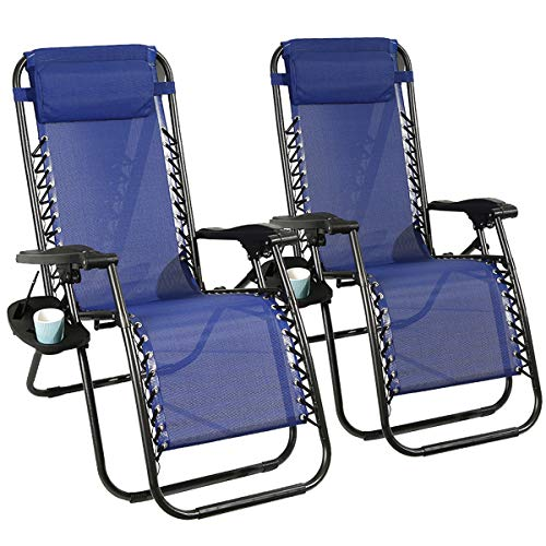 Photo of Barreau Piaf Sun Loungers Set of 2 Zero Gravity Chair Adjustable Reclining Garden Chair Recliner with Phone Cup Holder Portable for Home Outdoor Patio Deck, Blue