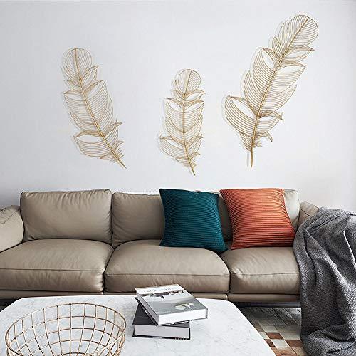 BCXGS Decoracion de Pared, Pluma Dorada Wall Art Decoración de Pared de Metal de Hierro Decoración de Pared de Arte para el hogar Adorno Colgante de Pared,27 * 69.5cm