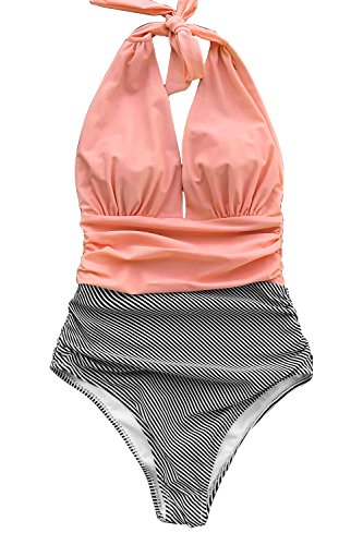 CUPSHE Women's Stripe Halter One-Piece Swimsuit Keeping You Accompained Swimwear, Medium Pink