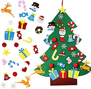 Blissun 3ft DIY Felt Christmas Tree Set with 28pcs DIY Christmas Ornaments for Kids, Xmas Gifts, New Year Door Wall Hangin...