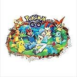 Autocollant Mural, 3D Pokemon Passer Par Pour Enfants Chambre Enfant Stickers Muraux Dessin Animé Pikachu Affiches, 60X90 Cm