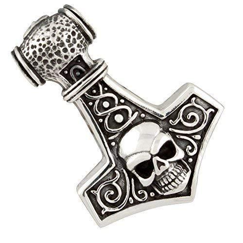 Martello di Thor con il Cranio, Ciondolo in 925 Argento