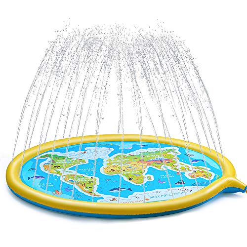 GOAMZ Splash Pad for Kids,69'Sprinkle and Splash Play Mat Splash Pad for Kids Backyard Play Mat Pool Outdoor Water Games/ Early Learning Games/Garden Spray Mat /Gift for Boys and Girls