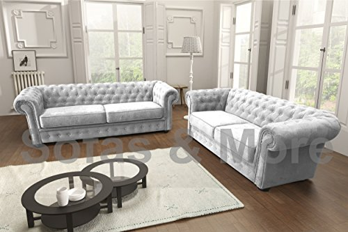 Chesterfield Style Corner Sofa Set 3+2 Seater Armchair Light Grey Fabric (3+2 Seater)