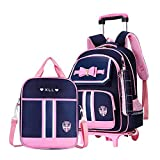 MITOWERMI 3Pcs Rolling Backpack Bowknot Girls Primary Schoolbag Trolley Bag Wheeled Backpack Carry On Luggage with Lunch Bag&Pencil Case