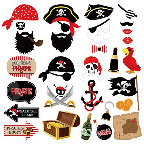 JoyTplay 30Piezas Accesorios de cabina de fotos piratas, decoraciones de fiestas...