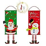 Bandera de Feliz Navidad, Bandera Colgante Decoración Navidad Papá Noel y Muñeco de Nieve, Decoración Navideña Bandera de Tela para Colgar Santa Claus, para Pared/Puerta/Porche/Jardín/Tienda Ventana