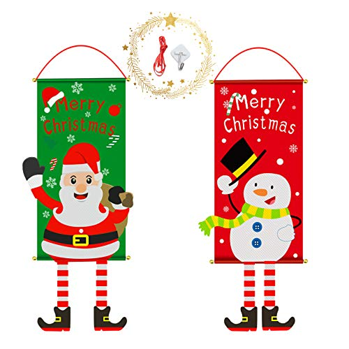 WBYJ Bandiera Natalizia da Appendere, 2 Pezzi Natal Bandiera Babbo Natale Pupazzo Neve Decorazione Natale per Casa, Giardino, Cortile, Interno, Esterno Decorazioni Natalizie