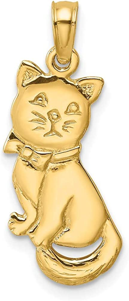 14K Yellow Daily bargain Ranking TOP14 sale Gold 3-D Polished And Bow Cat x mm 23 Sitting Charm