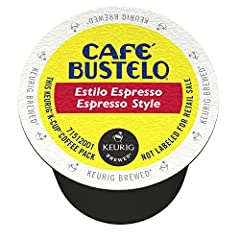 Contains 6 boxes of 12 Café Bustelo Espresso-Style Dark Roast K-Cup coffee pods (72 count total) Made from 100% pure, high-quality coffee beans roasted to perfection Dark roast coffee with a robust, full-bodied flavor and captivating aroma Bold sabor...