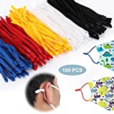 100 Pieces Elastic String, Adjustable Elastic Ear Loops with Buckle Colored Elastic Cord Elastic Bands for Sewing-Multi Color