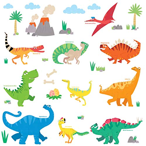 DECOWALL DW-1805 Dinosaurio Colorido Vinilo Pegatinas Decorativas Adhe