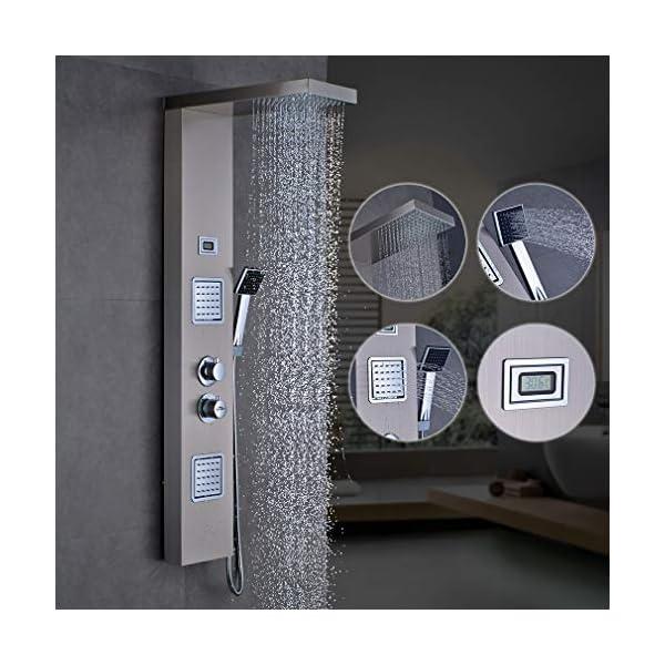 Auralum Panel De Ducha Con Mezclador Termostático, Acero Inoxidable Cepillado, Columna De Ducha Hidromasaje,Pantalla Lcd…