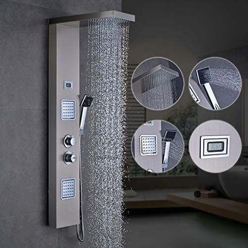 Auralum Thermostat Duschpaneel Duschset aus Edelstahl, Duschsystem mit handbrause und Regendusche Duscharmatur mit LED Wassertemperaturanzeige