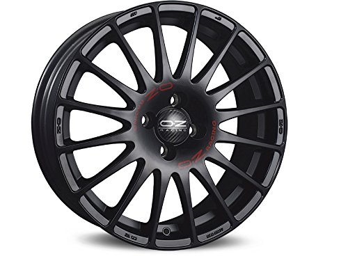 Oz Superturismo GT Matt Black Red lettering 7 x 18 ET39 4 x 100 cerchi in lega
