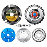 5 Pieces Wood Carving Disc Grinding Wheel Shaping Disc 12 Teeth Wood Polishing Shaping Disc,6 Teeth Wood Turbo Carving Disc,22 Teeth Grinder Chain Disc,4 1/2 Wood Carving Disc (5 PCS)