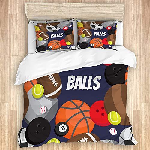 Ttrsudddsyy La Funda nórdica Establece Las sábanas,balones fútbol Voleibol Baloncesto, Juego de Cama de 3 Piezas con 2 Fundas de Almohada, tamaño único 140x200cm (55x78 Pulgada)