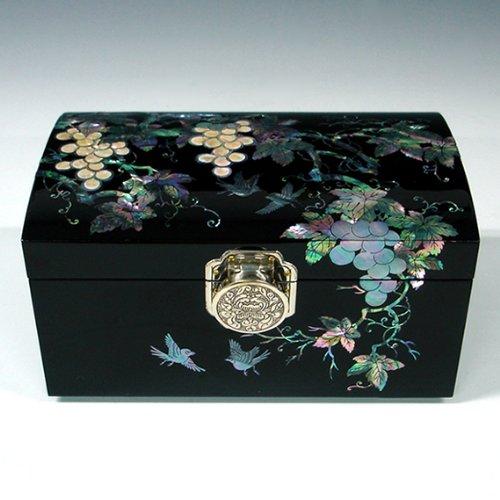 461 bois massif Boîte avec lin aspect Trésor Boîte caisse en bois Coffret CA 21x21x11 cm