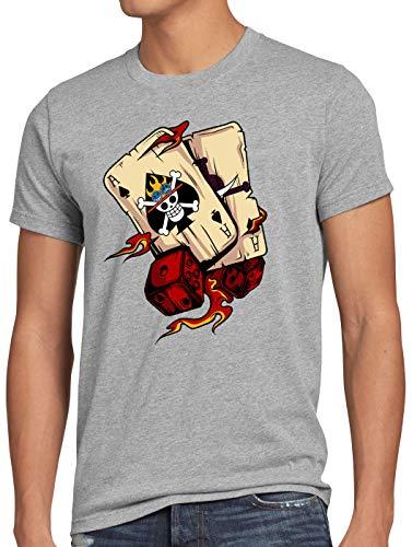 style3 One Ace Camiseta para Hombre T-Shirt Poker Piece Sombreros Anime Manga, Talla:M, Color:Gris Brezo