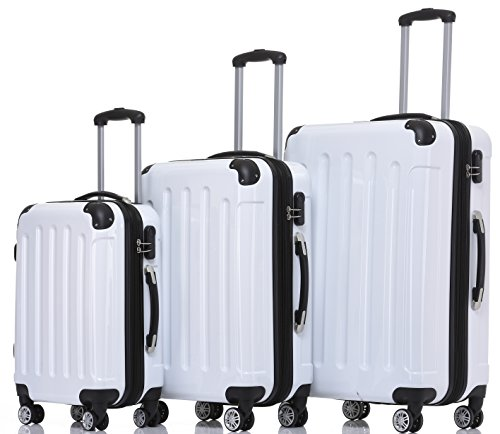 BEIBYE Hartschalen Koffer Trolley Rollkoffer Reisekoffer 4 Zwillingsrollen Polycabonat (Weiß, Kofferset)
