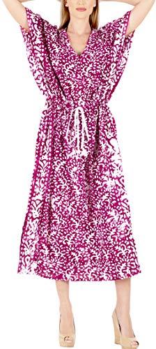 LA LEELA Mujeres Caftán Algodón túnica Batik Kimono Libre
