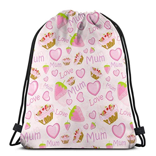GeorgoaKunk Zaino con Coulisse Love Mom Mathers Day Pink 3D Print String Bag Sackpack Borse Tote Cinch Regali per Donne Uomini Palestra Shopping Sport Yoga
