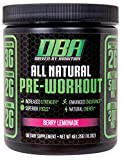 DBA Performance All Natural Pre Workout | Enhanced Strength, Focus, Hydration, & Energy. Vegan Friendly, No Artificial Ingredients, Non-GMO (25 Servings) (Berry Lemonade)