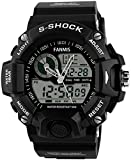 Mens Analog Digital Dual Display Sports Watches Military Multifunctional 50M Waterproof LED Watch with Alarm Stopwatch Backlight 12H/24H Outdoor Running Swimming (Black)