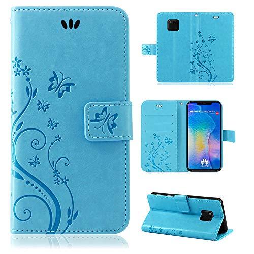 betterfon | Flower Hülle Handytasche Schutzhülle Blumen Klapptasche Handyhülle Handy Schale für Huawei Mate 20 Pro Blau