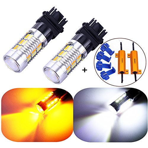 3157 3057 3357 4157 Canbus Turn Signal White Yellow Switchback LED Light Bulbs 22 SMD with Projector, for Standard Socket, Not CK, Pair of 2 with Load Resistors