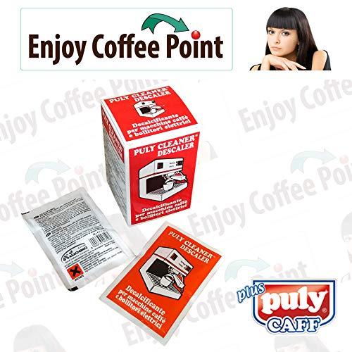 Enjoy Coffee 60 bolsitas de descalcificador en polvo para limpieza de cal de cafeteras expreso, monodosis y cápsulas de café.