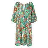 planuuik Mujeres Boho Verano Floral Camisa de Playa de Fiesta de Manga Larga Vestido Mini Vestido Talla Grande Verde Floral