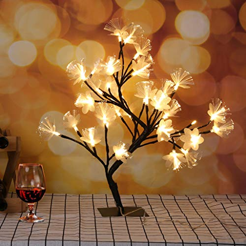Airpow 36 LED Cherry Blossom Tree Light - Bonsai Tree lamp Artificial Fiber Optic Branches Flowers Desktop Lamp Table Decoration for Home Bedside Bar Party Wedding Christmas (Black, Shipped from US)