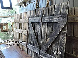 Rustic Interior Window Shutters Set of 2. 14 Inches Wide X 36 Inches Tall. Reclaimed Barn Wood Decorative Farmhouse Vintage Style Wooden Wall Decor.