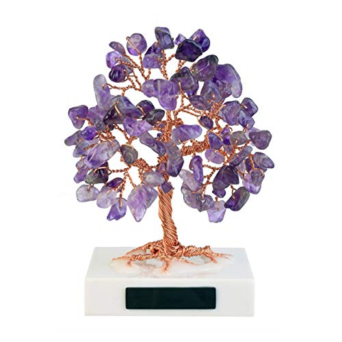 Jovivi 3.54'-4.7' Mini Natural Amethyst Healing Crystals Stone Bonsai Money Tree Tumbled Gemstones on Marble Base Feng Shui Ornaments for Good Luck, Wealth Home Office Decor Spiritual Gift