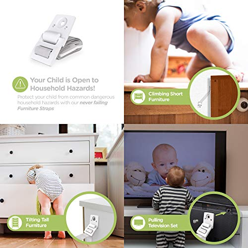 ELLA'S HOMES Furniture and TV Anti Tip Straps   Adjustable Earthquake Resistant Straps   Best Wall Anchor   Protection For Children   Baby Proof & Extra Strong ABS Kit (8 Pack)