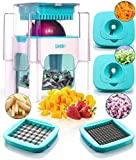 4-in-1 Vegetable Chopper for Onion, Potato, Veggie, Fruit – French Fry Cutter, Dicer, Spiralizer...