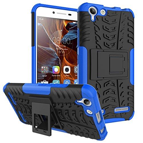 TiHen Handyhülle für Lenovo K5 Plus Hülle, 360 Grad Ganzkörper Schutzhülle + Panzerglas Schutzfolie 2 Stück Stoßfest zhülle Handys Tasche Bumper Hülle Cover Skin mit Ständer -Blau