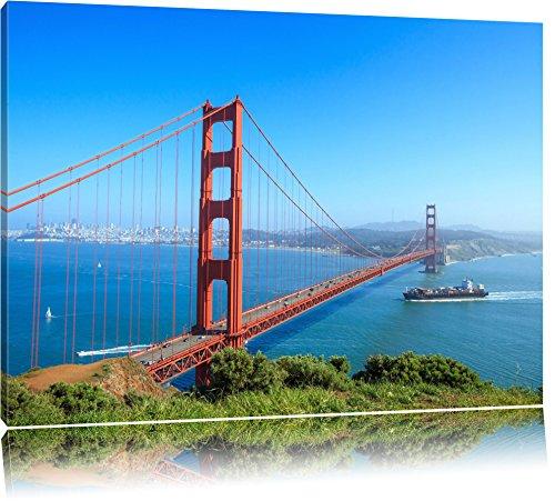 Golden Gate Bridge in San Francisco Format: 120x80 auf Leinwand, XXL riesige Bilder fertig gerahmt mit Keilrahmen, Kunstdruck auf Wandbild mit Rahmen, günstiger als Gemälde oder Ölbild, kein Poster oder Plakat