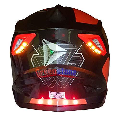 Green Stone G6 Moto Smart Dual Bluetooth Helmet With Brake/Indicator Light & Voice Assistance Medium 580MM (Medium)