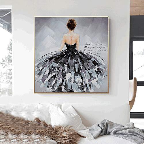 Olieverfschilderij kunst poster zwarte zwanen dansers muur kunst canvas woonkamer Scandinavische kunst eettafel decoratie frameloos schilderwerk