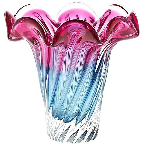 CRISTALICA Vase Blumenvase Murano Sky Rot Blau H 21 cm Traumhaft Handgeformte Vase Jedes Stück EIN Tischdeko Hochzeitdeko Raumdekoration