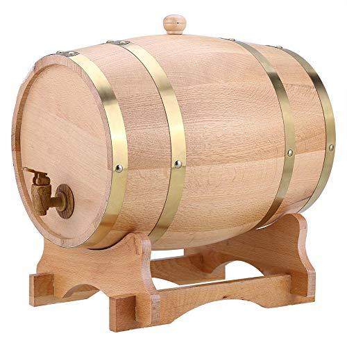 EBTOOLS Barril de Vino de Roble con Juego de Soporte Grifo Corcho, Barril Dispensador de Vino de Ron Tequila Whisky de Madera Vintage Toneles de Almacenamiento (10L)