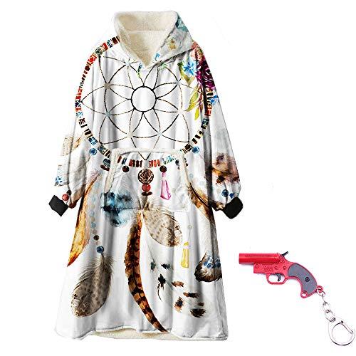 ZUICHU deken flanel hoodie Catch net print hoodie, witte badjas pullover (unisex) (eenheidsmaat, met sluitkoord)