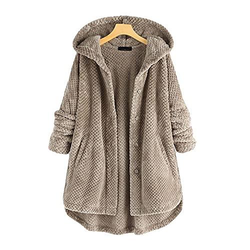 Tbylf Suéter con capucha para mujer, de doble cara, de forro polar, de moda, largo medio, para mujer, dorado, XXXXXL