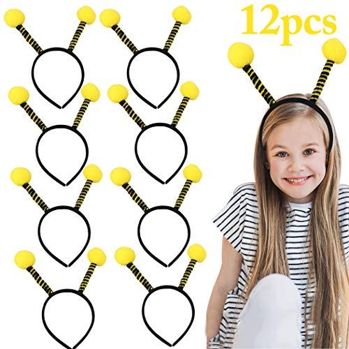 Bienen Haarreif, FunPa 12 Stück Bienen Stirnband Party Stirnband Niedlichen Kopf Bopper Antenne Stirnband Biene Stirnband Kostüm Kleid Party Haarband Biene Kinder Haarreifen Damen